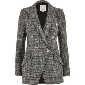 RI Black Tweed Double Breasted Tux Jacket